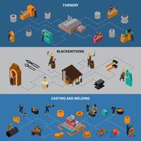 Conjunto de Banners de infográfico isométrica de processo de usinagem