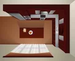 Imagem realista de cozinha vista superior de luxo vetor
