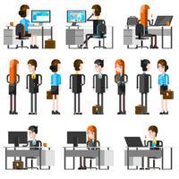 Conjunto de ícones do escritório pessoas Cartoon vetor
