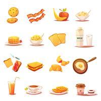 Conjunto de ícones retrô de elementos de pequeno-almoço clássico