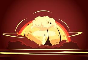 Poster retro dos desenhos animados da explosão da bomba nuclear vetor
