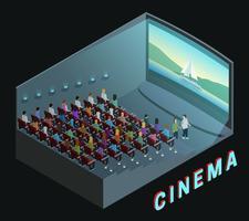 Cartaz isométrico da composição da opinião interior do cinema vetor