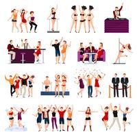 Conjunto de ícones plana de dança clube pessoas