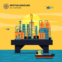 Ilustração de plataforma de petróleo