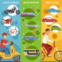 Conjunto de Banners verticais de sonhos de transporte
