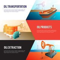 Conjunto de Banners isométrica de indústria de petróleo de petróleo