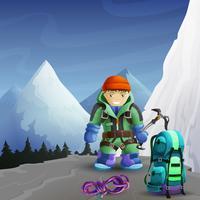 Alpinista de desenho animado personagem fundo cartaz vetor