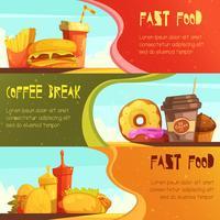 fast food 2 conjunto de bandeiras retrô vetor