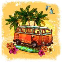 Conceito de esboço de ônibus de surf vetor
