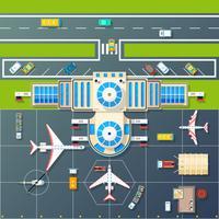 Imagem plana da vista superior do estacionamento do aeroporto vetor