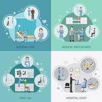 Enfermeira de cuidados de saúde 2 x 2 Design Concept