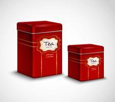 Conjunto de recipientes de metal vermelho de latas de chá vetor