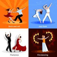 Conjunto de ícones de pessoas 2x2 a dançar vetor