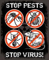 Cartaz do inseto do controlo de pragas do esboço vetor