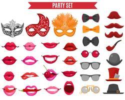 Conjunto de ícones de festa em estilo Retro vetor