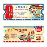 Bilhetes de convite para o Carnaval no parque de diversões