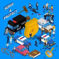 Ilustração isométrica de polícia vetor