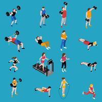 Conjunto de ícones isométrica de ginásio