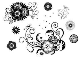 Pacote de vetores florais, redemoinhos e estrelas