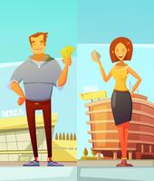 Compradores de engraçado dos desenhos animados no fundo da alameda