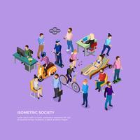 Sociedade de pessoas isométrica vetor