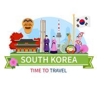 Poster de composição de viagens de Coreia plana