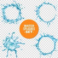 Salpicos de água azul sobre fundo transparente