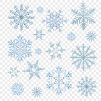 Flocos de neve transparente azul vetor