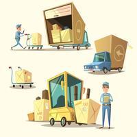 Conjunto de desenhos animados retrô de armazém vetor