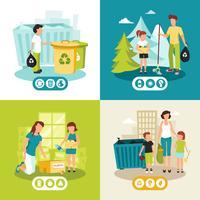 Reciclagem de lixo 4 ícones quadrados plana vetor