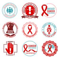 Conjunto de logotipo de emblemas de câncer de mama vetor