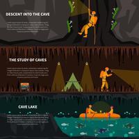 Speleiologists no conjunto de Banners plana de caverna vetor