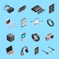 Conjunto de ícones isométrica de gadgets vetor