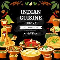 Cartaz indiano da placa do preto do menu da culin