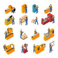 Conjunto de ícones de trabalhadores de fábrica vetor