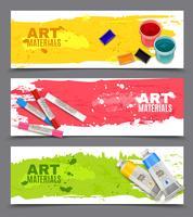 Conjunto de Banners horizontais artísticos vetor