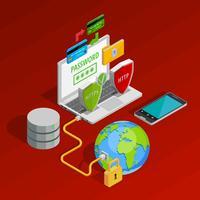 Composição de conceito de proteção de dados vetor