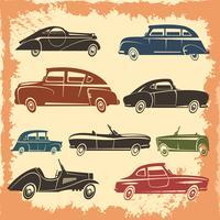 Coleção de estilo Vintage de modelos de carros retrô vetor
