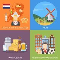 Conjunto de ícones de plano de 2 x 2 Países Baixos vetor