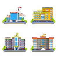 Edifícios Escolares Modernos E Clássicos vetor