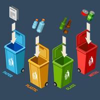 Conceito isométrico de gestão de resíduos vetor
