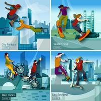 cidade extrema esportes 2 x 2 conceito conjunto de design