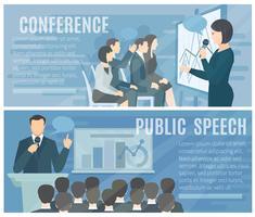 Conjunto de Banners horizontais planos de falar em público vetor