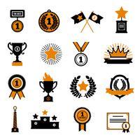 Conjunto de ícones decorativos estrelas e prêmios