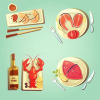 ícones dos desenhos animados de comida do mar vetor