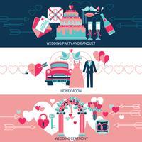 Banners horizontais de casamento vetor