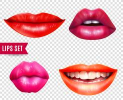 Conjunto transparente de lábios