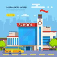 Ilustração plana de escola