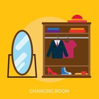 Mudando, sala, conceitual, ilustração, desenho vetor