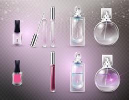 Garrafas cosméticas de vidro vazias e completas.